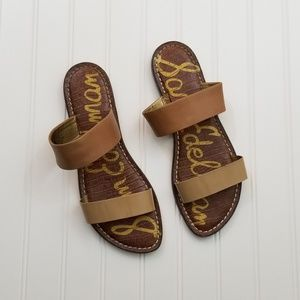 7ab96a0e3 Sam Edelman Two Strap Leather Sandal Saddle Brown